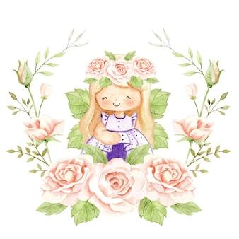 Акварельная розовая фея