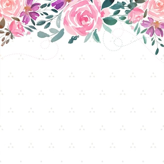 Watercolor rose flower decorative background with text space