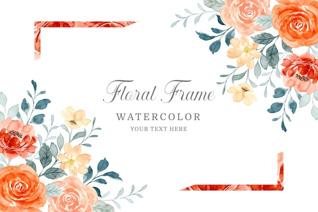Watercolor rose flower frame background