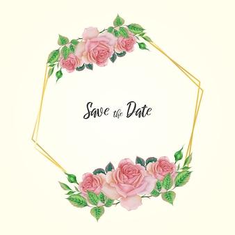 수채화 장미 꽃 틀 템플릿