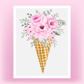 Watercolor rose flower on ice-cream cone
