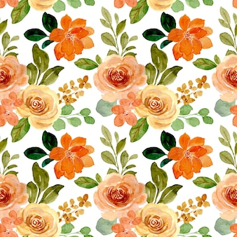 Watercolor rose flower seamless pattern