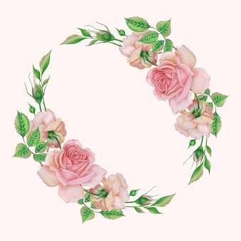 수채화 장미 꽃 세트