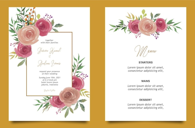 Шаблон свадебного приглашения акварель роза цветок и карта меню