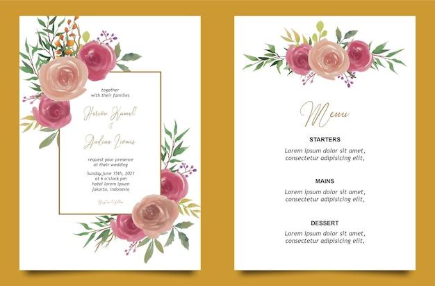 Watercolor rose flower wedding invitation card template and menu card