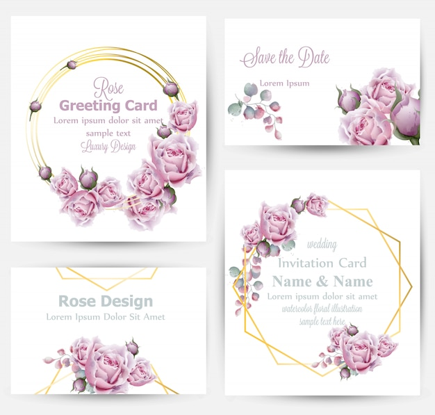 Watercolor rose flowers cards collection