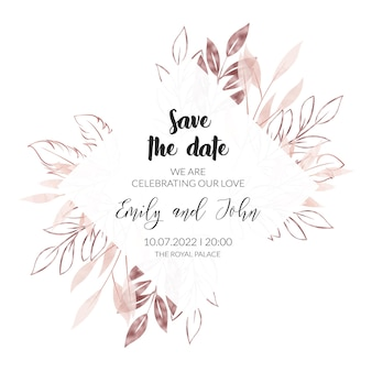 Watercolor and rose gold floral wedding invitation card