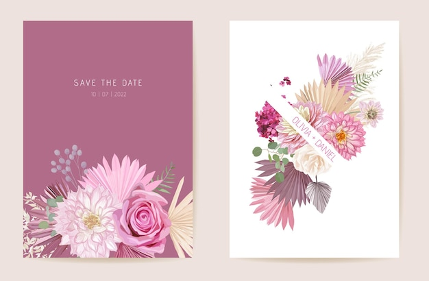 Watercolor rose, pampas grass, dahlia floral wedding card. vector exotic flower, tropical palm leaves invitation. boho template frame. botanical save the date foliage cover, modern design poster