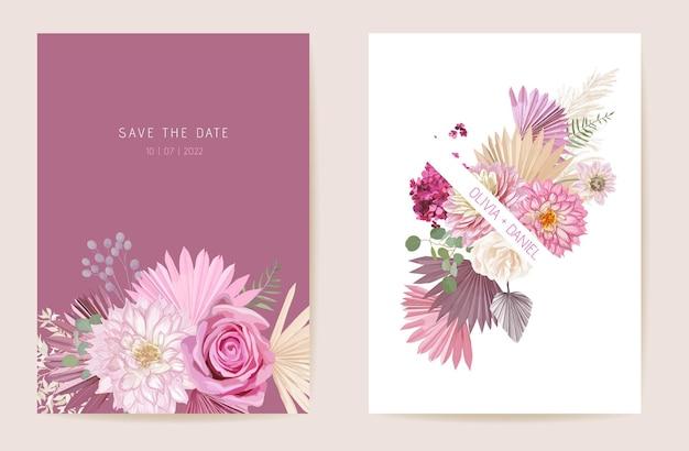 水彩のバラ、パンパスグラス、ダリアの花のウェディングカード。ベクトルエキゾチックな花、熱帯のヤシの葉の招待状。自由奔放に生きるテンプレートフレーム。ボタニカルセーブザデイトの葉のカバー、モダンなデザインのポスター