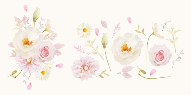 水彩のバラの牡丹とダリアの花のコレクション