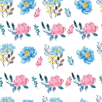 Watercolor rose pink and blue peony floral seamless pattern