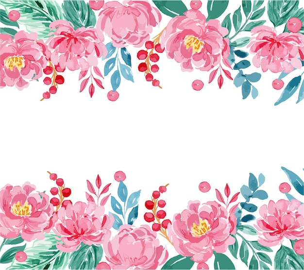 Watercolor rose pink peony floral border frame template