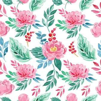 Watercolor rose pink peony floral seamless pattern