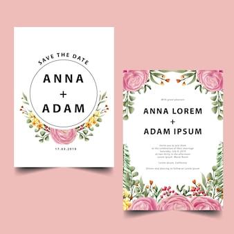 Акварель роза розовое свадебное приглашение