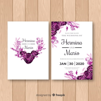 Watercolor rose wedding invitation template