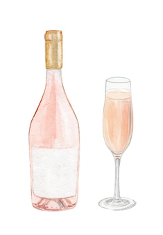 Watercolor rose wine bottle and glass set isolated