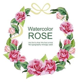 Watercolor rose wreath flower arrangement