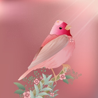 Watercolor of rosefinch bird vintage painting and beautiful flower.