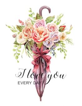 傘から作られた花瓶の水彩画のバラの花束。