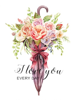 Watercolor roses bouquet in vase made from umbrellas.