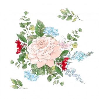 水彩バラの花束