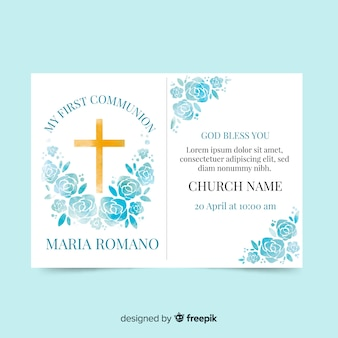 Watercolor roses first communion invitation