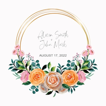 Watercolor roses floral wreath with golden frame