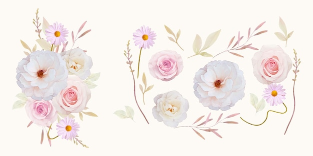 Watercolor roses  flower collection