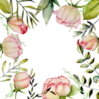 Watercolor roses, green leaves and branches frame on white background