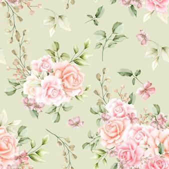 水彩のバラのシームレスなパターン