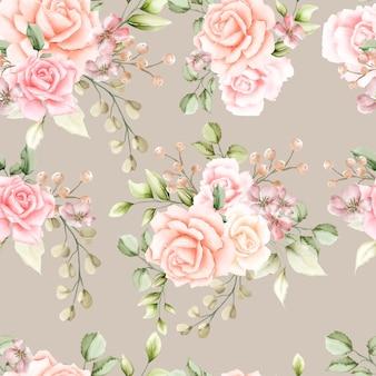 수채화 장미 원활한 패턴