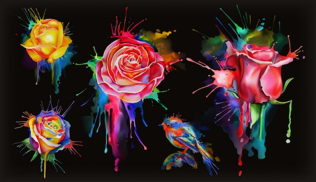 Watercolor roses, set of flowers on black