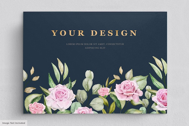 Watercolor roses spring card template