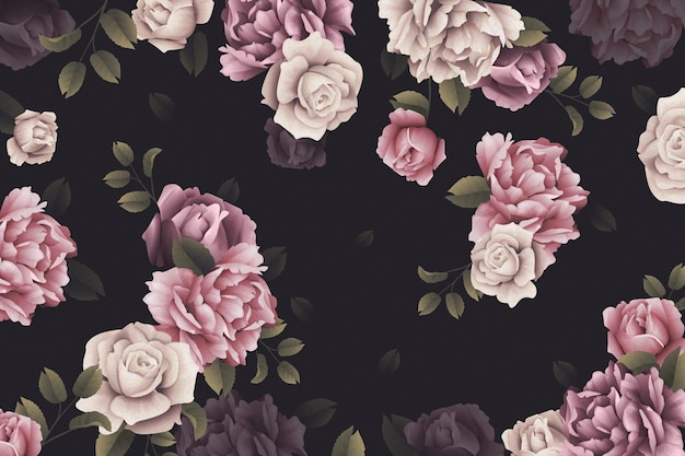 Watercolor roses wallpaper Free Vector