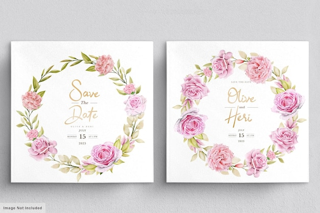 水彩のバラの結婚式の招待カードのテンプレート