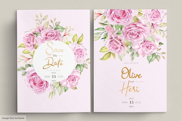 Modello di carta di invito matrimonio rose acquerello