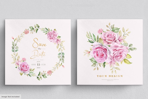 수채화 장미 결혼식 초대 카드 서식 파일
