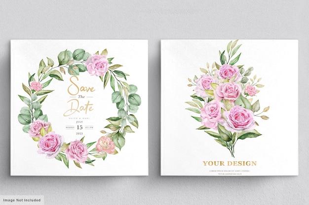 Modello della carta dell'invito di nozze delle rose dell'acquerello