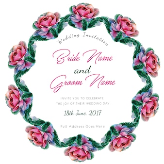 Watercolor roses wedding invitation card