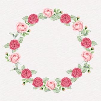 Акварельный венок из роз