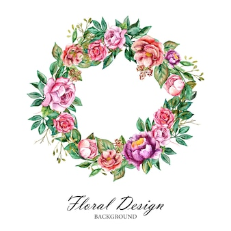 Watercolor round flower bouquet frame