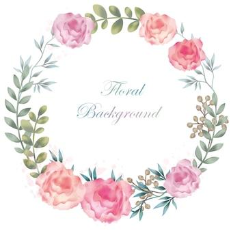 수채화 꽃 프레임 라운드