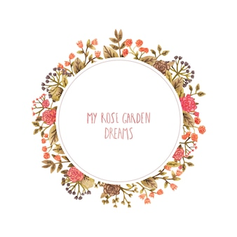 Watercolor round frame with flowers in a romantic style.