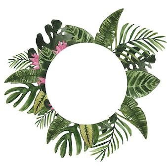 熱帯の葉と花と水彩の丸いフレーム