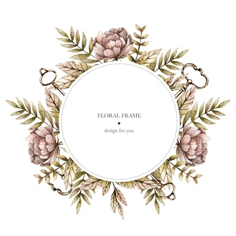 Watercolor round frame with various leaves and plants, peonies and keys.