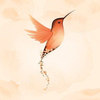 Watercolor of rufous hummingbird and beautiful flower.
