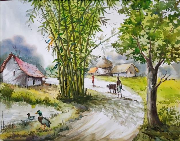 Watercolor rural nature, cute ducks standing at water illustration premium vector