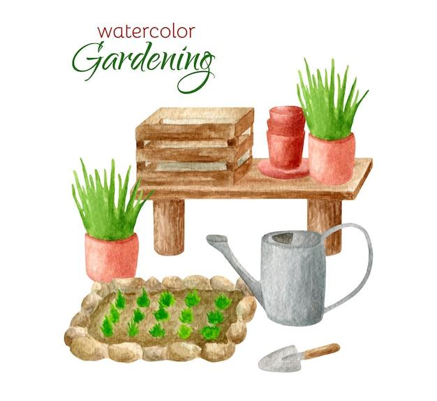 Watercolor rural scene with gardening equipment