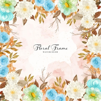 Watercolor rustic floral frame with autumn foliage
