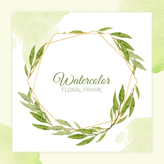 Watercolor rustic greenery floral frame with golden line